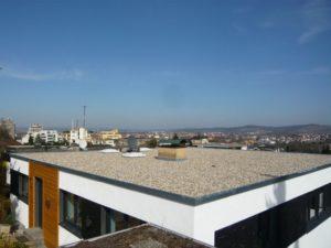 Eine isometrische Ansicht eines Flachdaches mit einem Dorf im Hintergrund